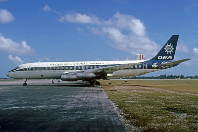 Overseas National Airways-ONA (1st) McDonnell Douglas DC-8-33 N711LF (msn 45260) MIA (Bruce Drum). Image: 103180.