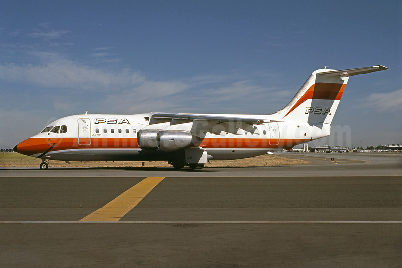 PSA (Pacific Southwest Airlines) BAe 146-200 N348PS (msn E2024) SJC (Bruce Drum). Image: 100984.