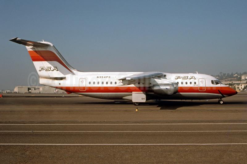 PSA (Pacific Southwest Airlines) BAe 146-200 N354PS (msn E2034) SAN (Ron Monroe). Image: 945179.