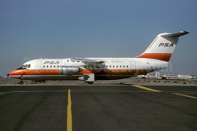 PSA (Pacific Southwest Airlines) BAe 146-200 N358PS (msn E2041) SJC (Thomas Livesey). Image: 923639.