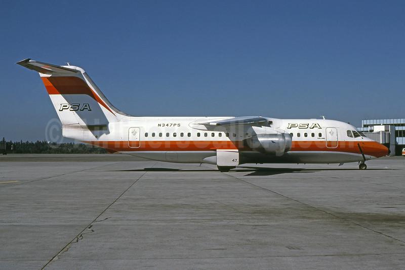 PSA (Pacific Southwest Airlines) BAe 146-200 N347PS (msn E2023) SEA (Bruce Drum). Image: 100985.