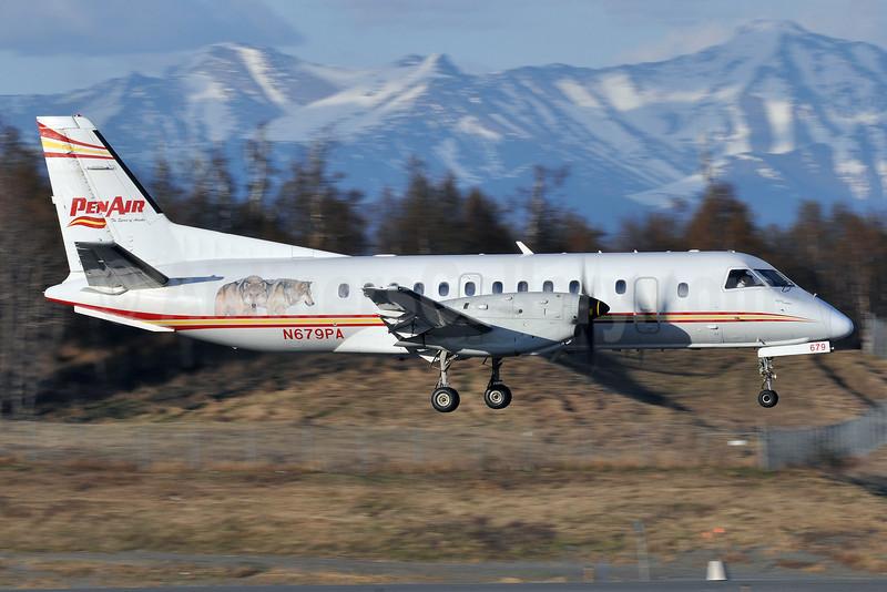 PenAir (Peninsula Airways) SAAB 340B N679PA (msn 345) (wolves) ANC (Tony Storck). Image: 908346.