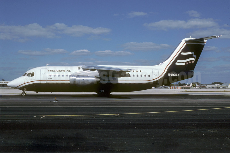 Presidential Airways BAe 146-200 N403XV (msn E2061) MIA (Keith Armes). Image: 920639.