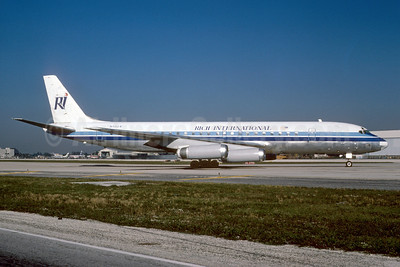 Rich International Airways McDonnell Douglas DC-8-62 N1804 (msn 45896) (Transglobal colors) MIA (Keith Armes). Image: 921104.