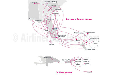 Silver Airways Route Map (February 2021)