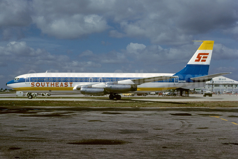 Southeast Airlines (2nd) Boeing 707-321 N433MA (msn 18084) MIA (Bruce Drum). Image: 103147.