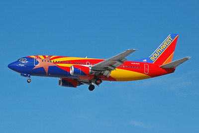 Southwest Airlines Boeing 737-3H4 N383SW (msn 26589) (Arizona One) LAS (Bruce Drum). Image: 100281.