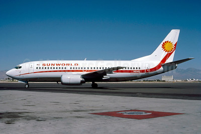 Sunworld International Airways (1st) Boeing 737-3Q8 N841L (msn 23255) LAS (Robert E. Garrard). Image: 921720.