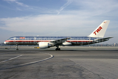 Interim American livery with TWA titles after the takeover