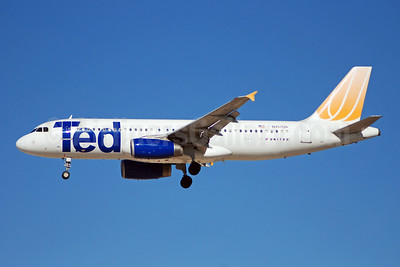 Ted (United Airlines) Airbus A320-232 N452UA (msn 955) LAS (Bruce Drum). Image: 102396.