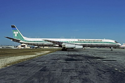 Trans International Airlines (1st) McDonnell Douglas DC-8-63CF N4869T (msn 46117) MIA (Bruce Drum). Image: 102452.