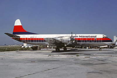 Trans International Airlines (2nd) Lockheed 188C (F) Electra N853U (msn 2006) MIA (Keith Armes). Image: 929895.