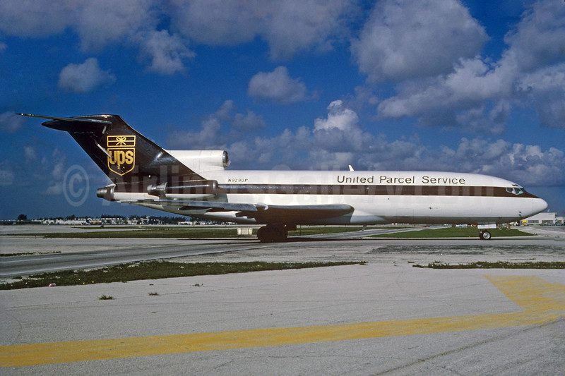 United Parcel Service-UPS (UPS Airlines) Boeing 727-22C N929UP (msn 19092) MIA (Bruce Drum). Image: 104408.