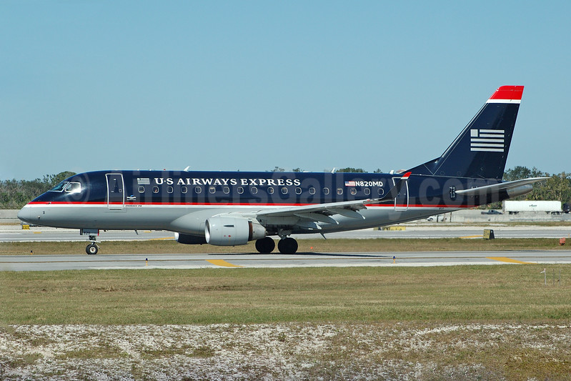 US Airways Express-MidAtlantic Airways Embraer ERJ 170-100SU N820MD (msn 17000041) FLL (Bruce Drum). Image: 104574.