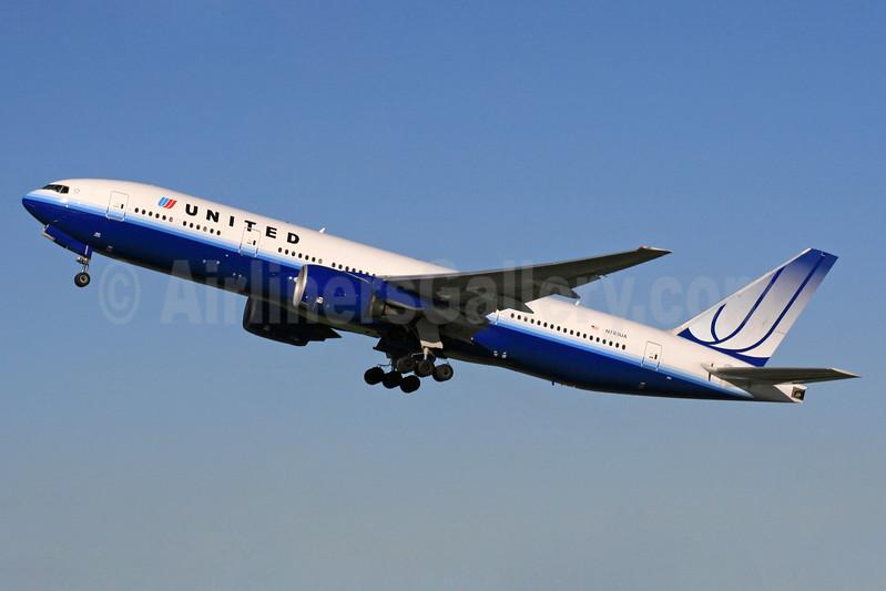 United Airlines Boeing 777-222 ER N783UA (msn 26950) LHR (SPA). Image: 937232.