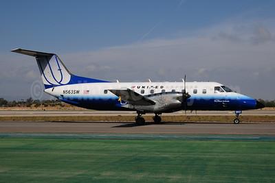 United Express-SkyWest Airlines Embraer EMB-120ER Brasilia N563SW (msn 120338) LAX (Ton Jochems). Image: 955026.
