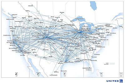 United Express - SkyWest Airlines route map (August 2019)