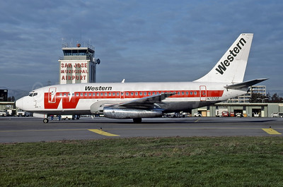 Western Airlines Boeing 737-284 N70722 (msn 21501) SJC (Thomas Livesey). Image: 946996.