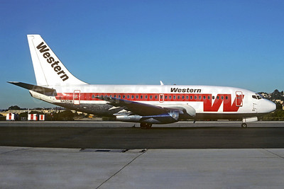 Western Airlines Boeing 737-247 N4501W (msn 19598) SAN (Christian Volpati Collection). Image: 911823.