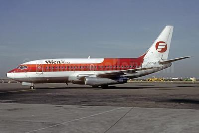 Wien Air Alaska Boeing 737-291 N7395F (msn 21546) (Frontier Airlines colors) OAK (Thomas Livesey). Image: 909258.