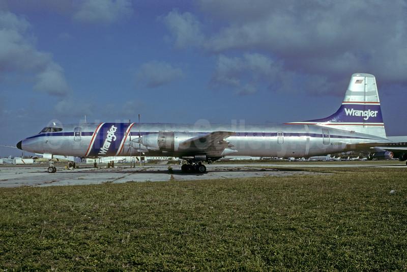 Wrangler Aviation (Blue Bell Aviation) Canadair CL-44D4-6  N100BB (msn 29) MIA (Bruce Drum). Image: 103471.
