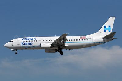 Clinton-Kaine - hillaryclinton.com (Xtra Airways) Boeing 737-484 N214XA (msn 25314) LAX (James Helbock). Image: 935096.