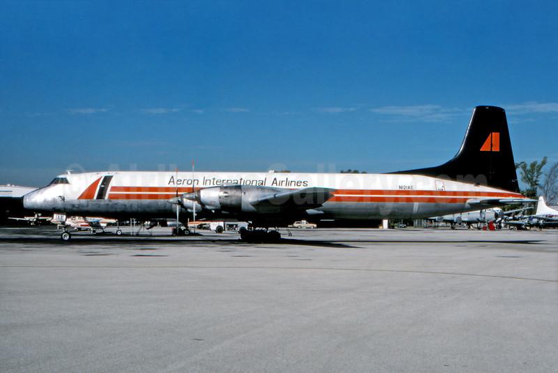 Aeron International Airlines Canadair CL-44D-2 Swingtail N121AE (msn 38) MIA (Fernandez Imaging). Image: 931197.