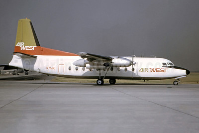 Air West (1st) Fairchild F-27A N756L (msn 98) LAX (Ted J. Gibson - Bruce Drum Collection). Image: 949554.