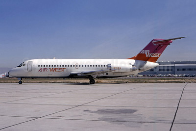 Air West (1st) McDonnell Douglas DC-9-14 N9104 (msn 47081) LAX (Ted J. Gibson - Bruce Drum Collection). Image: 946733.