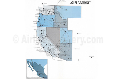 Air West June 1, 1970 Route Map