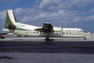 Airlift International Fairchild Hiller FH-227C N374NE (msn 504) (Emerald Air colors) MIA (Jacques Guillem Collection). Image: 933894.