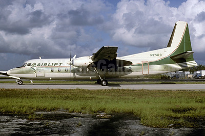 Airlift International Fairchild Hiller FH-227C N374RD (msn 504) (Emerald Air colors) MIA (Bruce Drum). Image: 103175.