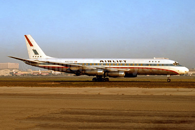 Airlift International (Conner Air Lines) McDonnell Douglas DC-8-33 (F) N8215U (msn 45261) (United colors) LAX (Ron Monroe). Image: 944217.