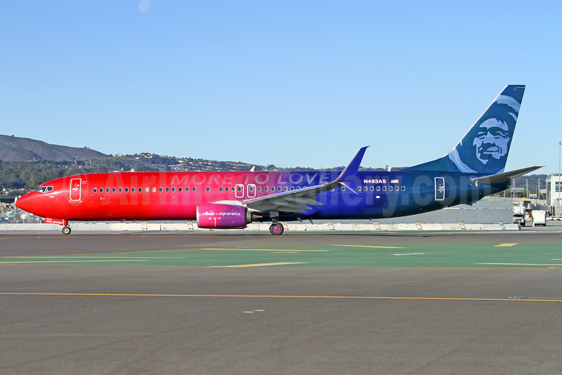 """Alaska Airlines' 2016 """"More to Love"""" special livery celebrating the Virgin America takeover"""