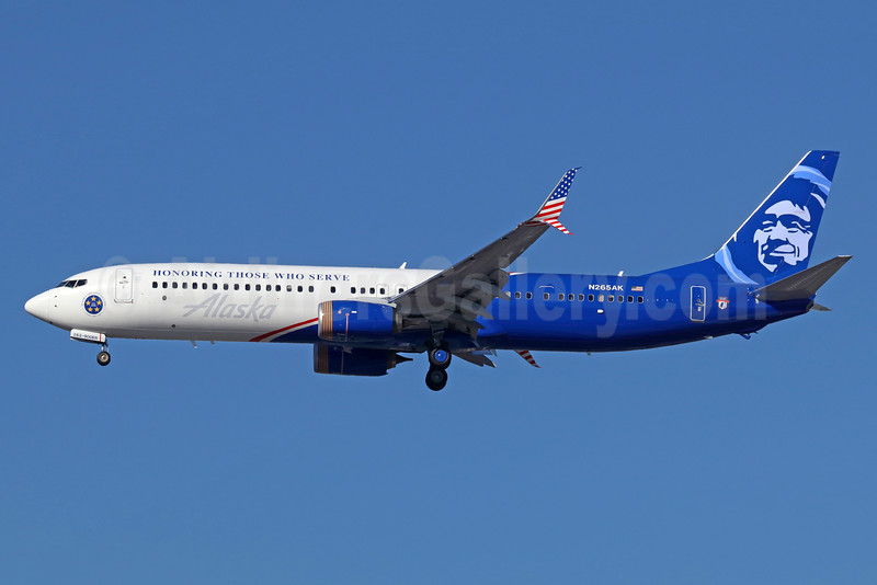 "Alaska Airlines' ""Honoring Those Who Serve"" veterans logo jet"