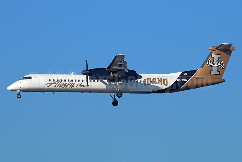 Alaska Horizon (Horizon Air) Bombardier DHC-8-402 (Q400) N400QX (msn 4030) (Idaho Vandals) LAX (Michael B. Ing). Image: 922645.