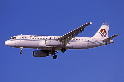 America West Airlines Airbus A320-231 N6314AW (msn 091) LAS (Bruce Drum). Image: 101105.