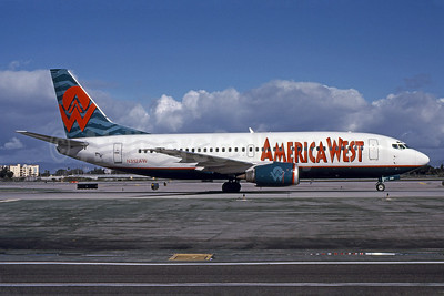 America West Airlines Boeing 737-3S3 N312AW (msn 24060) LAx (Bruce Drum). Image: 101089.