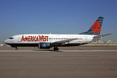 America West Airlines Boeing 737-3Q8 N327AW (msn 23507) PHX (Bruce Drum). Image: 102696.