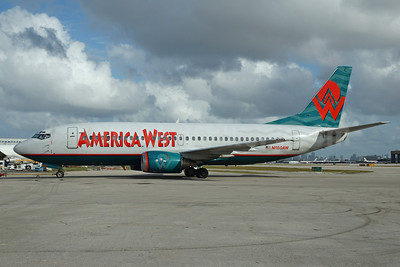 America West Airlines Boeing 737-3G7 N160AW (msn 23782) MIA (Bruce Drum). Image: 100262.