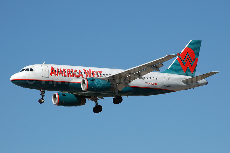 America West Airlines Airbus A319-132 N808AW (msn 1088) LAS (Bruce Drum). Image: 100496.