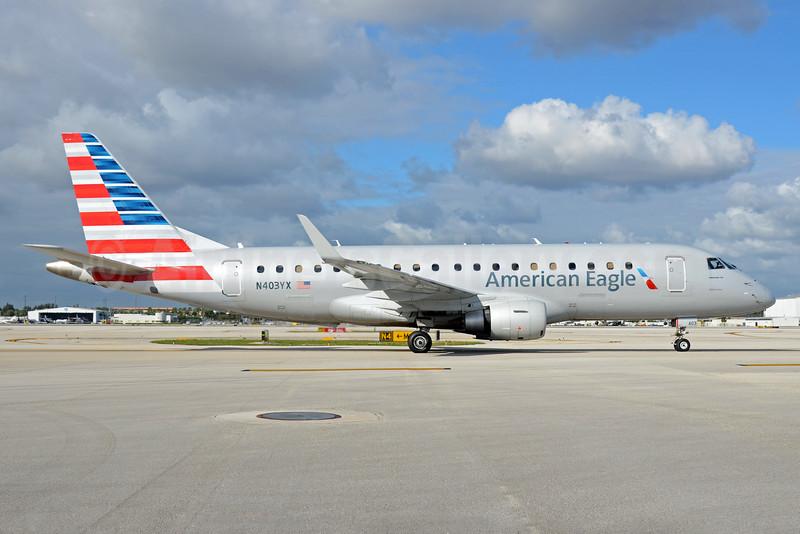 American Eagle Airlines (2nd)-Republic Airlines (2nd) Embraer ERJ 170-200LR (ERJ 175) N403YX (msn 17000365) MIA (Bruce Drum). Image: 104286.