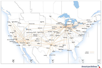 American Eagle - SkyWest Airlines route map (August 2019)