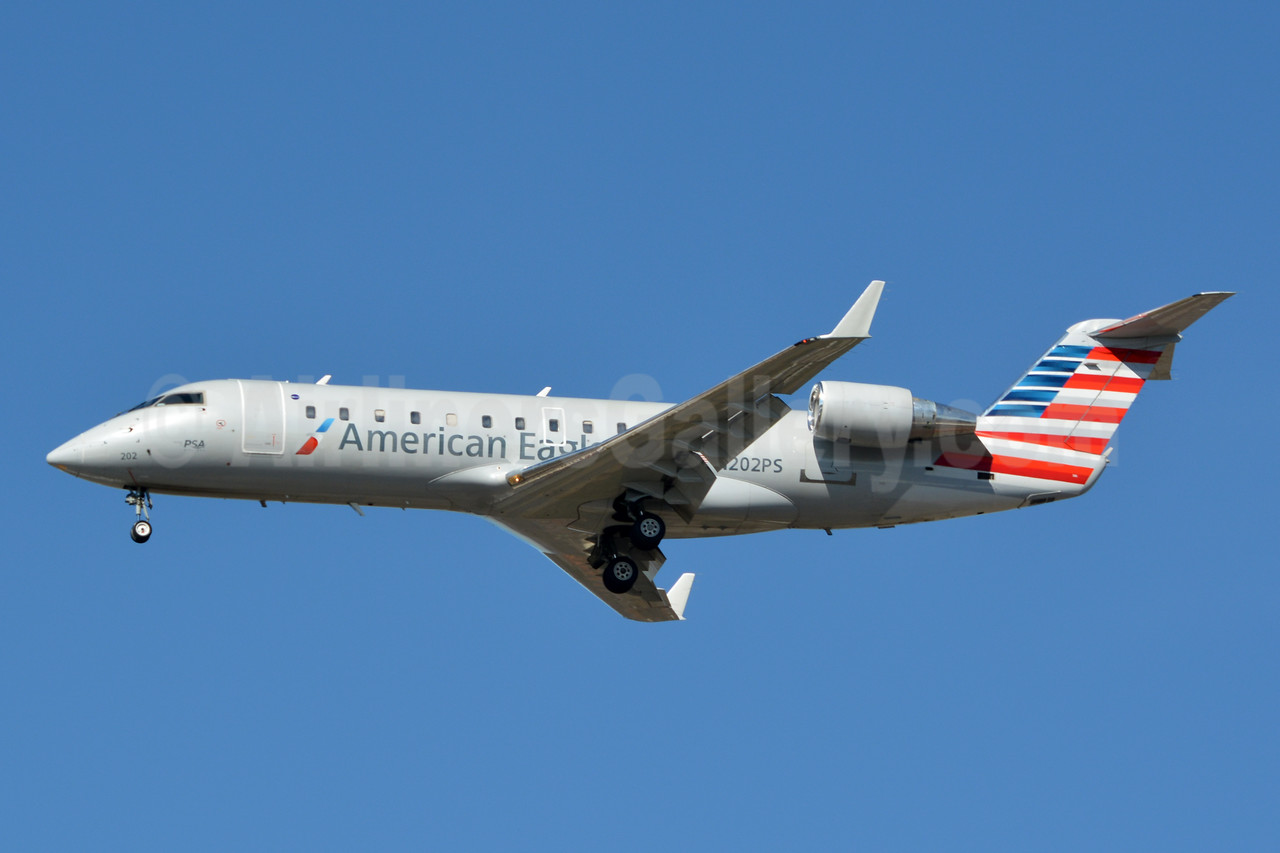 American Eagle (2nd)-PSA Airlines (2nd) Bombardier CRJ200 (CL-600-2B19) N202PS (msn 7858) CLT (Jay Selman). Image: 402935.