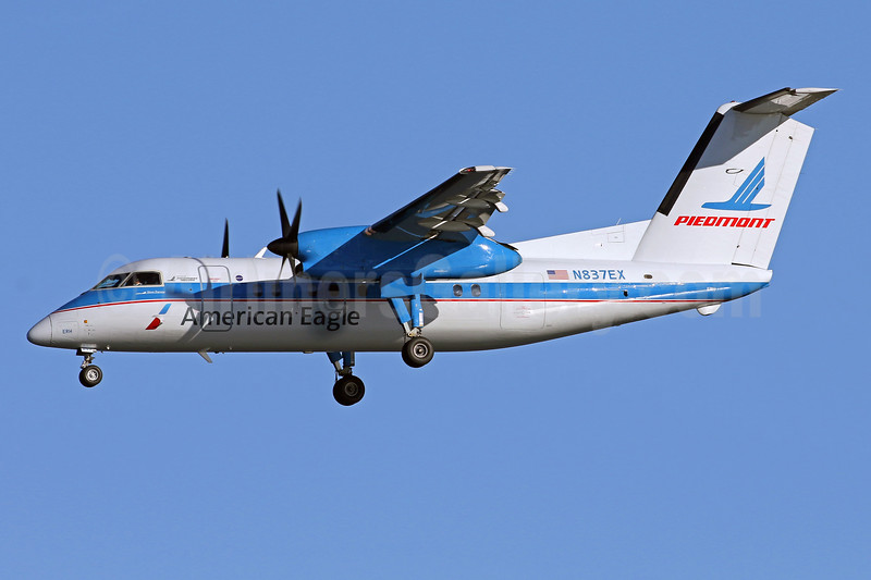 American Eagle (2nd)-Piedmont Airlines (2nd) Bombardier DHC-8-102 Dash 8 N837EX (msn 217) (Piedmont Airlines colors) DCA (Brian McDonough). Image: 935577.