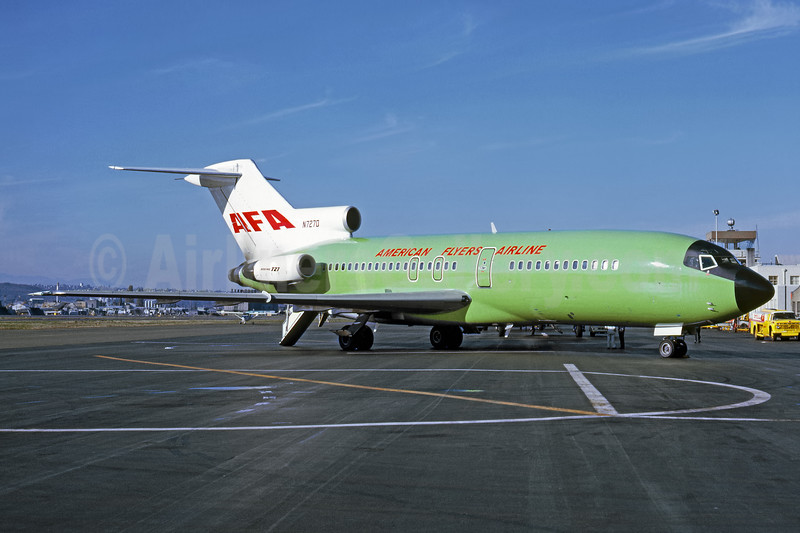 American Flyers Airline-AFA Boeing 727-27C N7270 (msn 19109) (Braniff green colors) BFI (Fernandez Imaging Collection). Image: 935480.