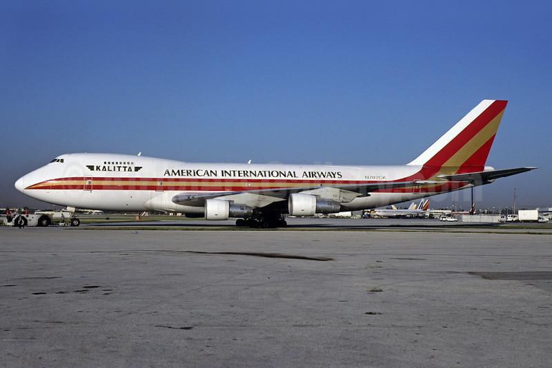 American International Airways (3rd) (Kalitta) Boeing 747-269B (F) N707CK (msn 21541) MIA (Bruce Drum). Image: 103206.