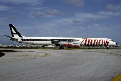 Arrow Air (2nd) McDonnell Douglas DC-8-63 (F) N345JW (msn 46042) (red arrows) MIA (Bruce Drum). Image: 102565.