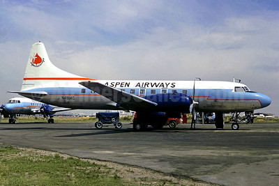 Aspen Airways Convair 440-38 N4814C (msn 107) (white top, blue stripe) DEN (Christian Volpati Collection). Image: 910249.