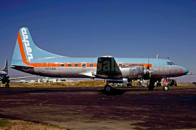 Aspen Airways Convair 580 N73104 (msn 4) (blue top, orange stripe) DEN (John B. Hayes). Image: 910256.